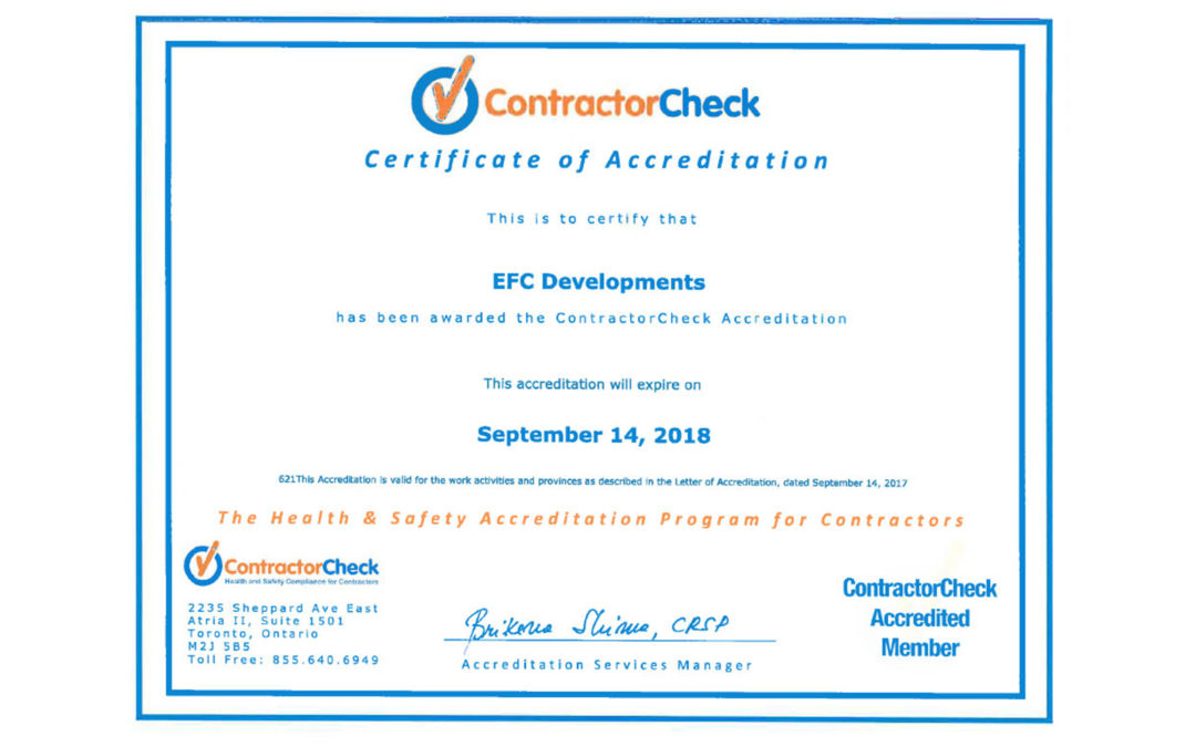 We are now ContractorCheck accredited