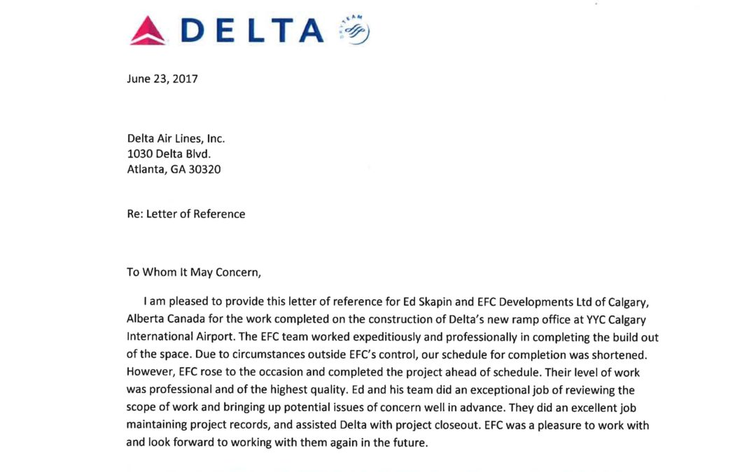 Thank you to Delta Airlines for the remarkable letter of reference!