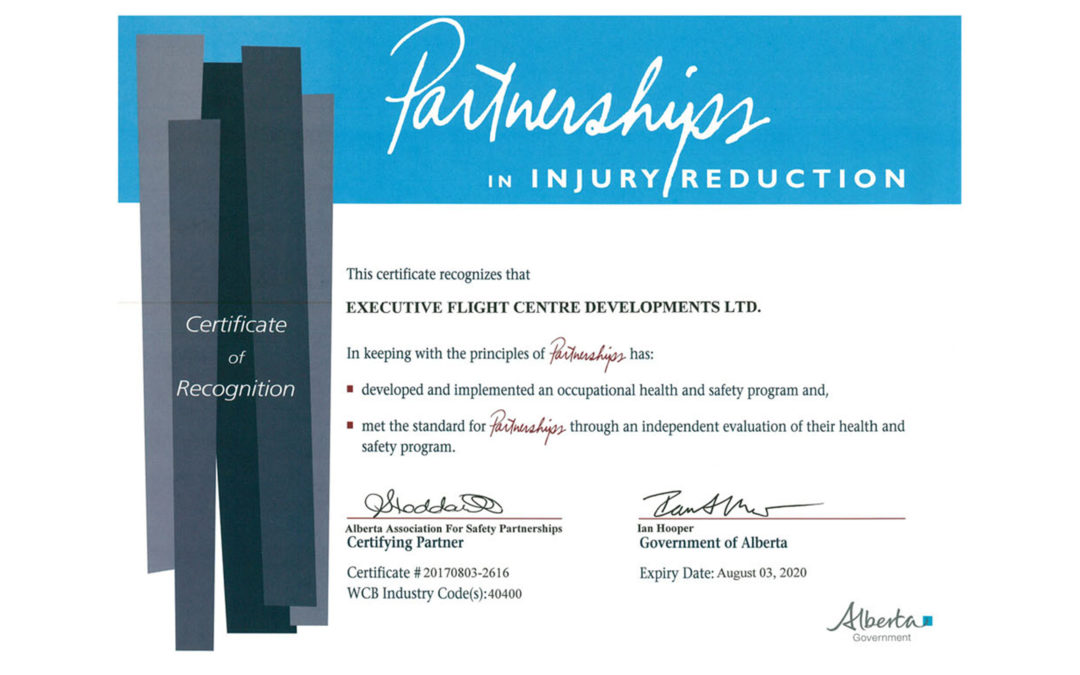 EFC Developments Achieves COR (Certificate of Recognition) Certification