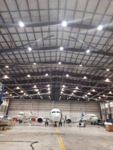 inside of airline hanger